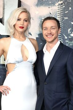 Jennifer Lawrence and James McAvoy at the premiere of 'X-Men : Apocalypse' in London, 2016