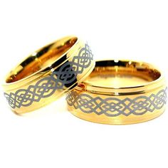 Blue Chip Unlimited - Matching Solid Tungsten 18k Gold Plated Celtic Rings 9mm for Him 8mm for Her His & Hers Ring Set Wedding Bands Engagement Rings (Available in Whole & Half Sizes) Blue Chip Unlimited. $67.95. Comfort Fit Band. Solid Tungsten & 18k Gold Plated Bands - Wide 9mm for Him Slim 8mm for Her. **PLEASE MESSAGE US WITH THE SIZES YOU NEED AFTER YOU COMPLETE THE TRANSACTION**. 9mm width available in sizes 4.5-17; 8mm width available in sizes 5-17. Shape: Flat with step d...