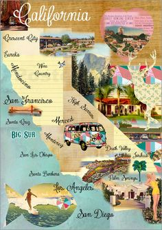 Vintage California Map Collage Poster on wooden background Pictures: Posters by Claudia Schön at Posterlounge.co.uk