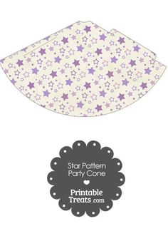 Vintage Purple Star Pattern Party Cone from PrintableTreats.com