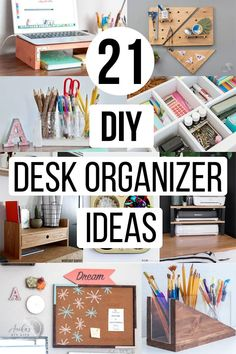 Easy DIY desk organizer ideas to get your workspace organized. These include easy scrap wood projects and upcycled ideas. #organization #homeoffice #anikasdiylife
