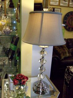 Crystal looks great in many designs and this crystal lamp base demands to be seen when you walk into a room