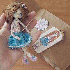 Amigurumi doll by Mint Bunny. Crochet Amigurumi, Crochet Doll Pattern, Amigurumi Patterns, Amigurumi Doll, Doll Patterns, Crochet Patterns, Knitted Dolls, Crochet Dolls, Beautiful Crochet