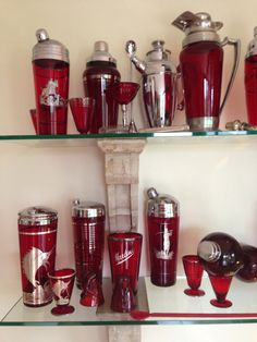 I have been busy with work, but here is a close up of my freshly polished Silver overlay  ruby glass cocktail shakers in  all there Glory. All 1930- 40th