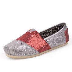 Toms Mixed colors Glitters Red Shoes   The official shoe of school pride. Light, comfortable and durable canvas construction in authentic University of Wisconsin colors. From game day to graduation, Campus Classics shows that your spirit comes with heart.