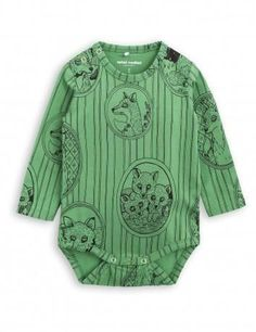 Mini Rodini Fox Family LS Bodysuit | Green