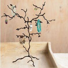 Metal twig jewelry tree