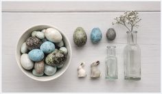 East of India Hand Painted Wooden Birds Eggs (Codes 650-663) and Baby Bunny Rabbits (Codes 282)