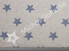 Michas Stoffecke - Kuschelsweat blaue Glitzersterne auf grau meliert S1-VH2924-002