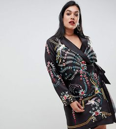 421c6b11590e ASOS Curve ASOS DESIGN Curve embroidered wrap mini dress with long sleeves  #ad Asos Curve