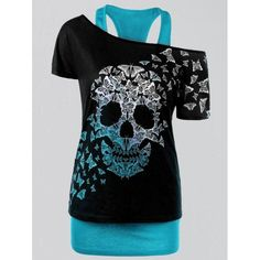 RoseWholesale - Rosewholesale Plus Size Butterfly Skull T-shirt with Tank Top - AdoreWe.com