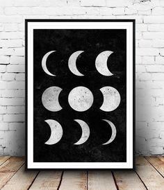Luna Print fases de la luna arte blanco y negro de la por Wallzilla