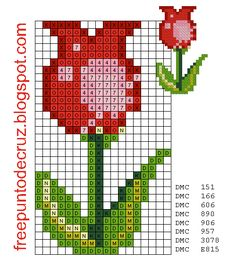 Flor punto de cruz - Flower Cross Stitch | Dibujos Punto de Cruz Gratis