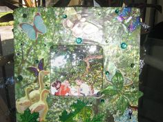 Butterfly Garden Picture Frame Green by decodiva49 on Etsy, $30.00