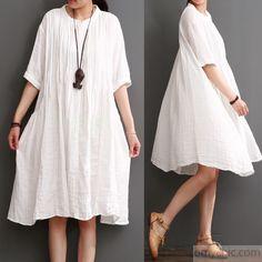 white patchwork dotted cotton women dresses plus size sundress