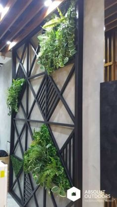 Patterned Feature Wall with Artificial Plants Outdoor Walls, Outdoor Spaces, Outdoor Living, Outdoor Decor, Modern Outdoor Wall Art, Outdoor Wall Panels, Artificial Green Wall, Artificial Plants, Backyard Patio