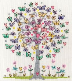 Love Spring A beautiful tree covered in pastel coloured Butterflies - a contemporary cross stitch design by Bothy Threads, designed Butterfly Cross Stitch, Cross Stitch Tree, Cross Stitch Flowers, Cross Stitch Charts, Counted Cross Stitch Patterns, Cross Stitch Designs, Cross Stitch Embroidery, Embroidery Patterns, Hand Embroidery