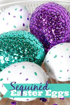 Bright and Colorful Sequined Easter Egg Centerpiece with painted speckled eggs for a finishing touch! {The Love Nerds} Egg Crafts, Easter Crafts, Holiday Crafts, Holiday Fun, Easter Ideas, Easter Recipes, Happy Easter, Easter Bunny, Easter Eggs