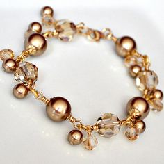 Bronze Bracelet. Gold Pearl Bridesmaid Jewelry. Pearl Crystal Bracelet. Chunky Bridesmaid Jewellery. Bronze Charm Bridesmaid Bracelet