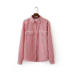 Лето Блузка 2016 Новый Тонкий Рубашка Нагрудные Два кармана Вертикальная полосатая рубашка Средней Длины рубашки Женщин Рубашка XY1034 купить на AliExpress