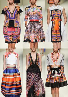 Alberta Ferretti S/S 2014-Scarf and Border print Layouts – Opulent Border Schemes – Graduation in Pattern – Multicoloured Florals – Folkloric Inspired – Ribbons and B...