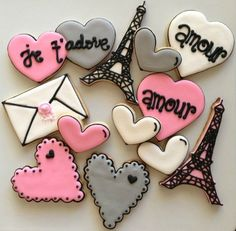 Love Letters From France (16 cookies). $35.00, via Etsy.
