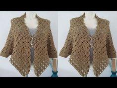 Poncho corto o capa con cuello tortuga en punto turco tejido a crochet / Tejiendo Perú - YouTube