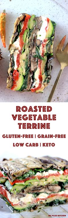 My PCOS Kitchen - Roasted Vegetable Terrine - Grilled vegetables stacked on top of one another with creamy goat cheese! Primal, keto, low carb and gluten-free! keto primal lowcarb terrine vegetables via My PCOS Kitchen Lunch Recipes, Keto Recipes, Vegetarian Recipes, Cooking Recipes, Healthy Recipes, Vegetarian Grilling, Healthy Grilling, Bariatric Recipes, Vegetable Dishes