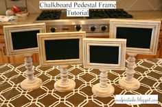 Chalkboard pedestal frame tutorial -- great in your booth for displaying prices, item info, etc. From mudpiestudio.blogspot.com