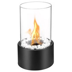 Regal Flame Eden Ventless Indoor Outdoor Fire Pit Tabletop Portable Fire Bowl Pot Bio Ethanol Fireplace in Black - Realistic Clean Burning like Gel Fireplaces, or Propane Firepits