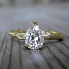 Pear Moissanite Twig Engagement Ring in Yellow or by kristincoffin, $1,250.00