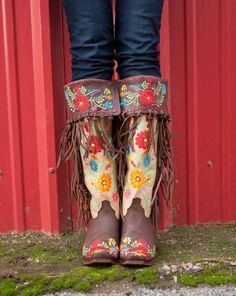 "Rodeo Quincy "" Gloria "" Embroidered Fringe Boots"