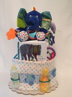 Two Tier Eric Carle Blue Elephant Diaper Cake