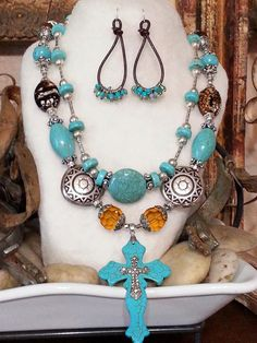 BOLD COWGIRL chic rebel necklace set earrings Blue by BoldCowgirl, $72.00