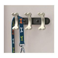 "Wall Rack Nickel Bone Leash Holder Black 3 Hanging Hooks 9"" Width Store Pet Dog #RichardsHomewares"