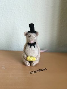 Felted Mouse. Needle Felted Mouse. Handmade Soft Sculpture | Etsy Needle Felted Animals, Felt Animals, Needle Felting, Pumpkin Hat, Felt Mouse, Soft Sculpture, Handmade Items, Wedding Day, Bows