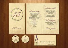 Meniu, etichetă pentru mărturii și etichetă pentru place-card pentru invitația cu lavandă.