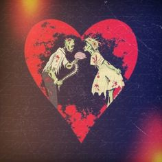 Zombie love is the sweetest love you can imagine. Only the truest of loves can understand you enough to know you'd want a brain as a token of your love. Zombie Shirt, Raven Tattoo, Weird Creatures, Psychobilly, Couple Tattoos, Heart Art, Zombie Apocalypse, Love Is Sweet, Color Show