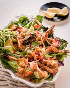 Try this easy, tasty & healthy prawn salad topped with a homemade salad dressing. Makes for an appetising starter or side dish. Serve with crusty bread. Lunch Recipes, Salad Recipes, Micro Herbs, Prawn Salad, Grilled Prawns, Prawn Cocktail, Salad Topping, Salad Dressing, Side Dishes