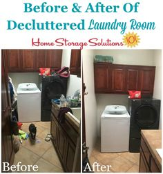Before and after of decluttered laundry room {featured on Home Storage Solutions 101}