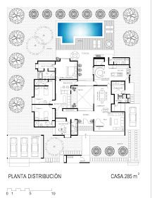 La Forma Moderna en Latinoamérica: CASAS DE CAMPO Sketches Arquitectura, Villa Plan, Cottage Plan, Apartment Layout, Passive House, Dream House Plans, Flat Roof, Plan Design, Modern House Design