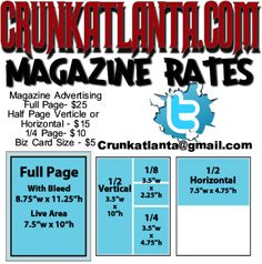 Crunkatlanta Magazine rates