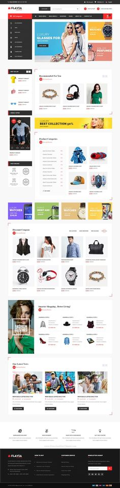 Flavia - bootstrap and ecommerce website template comes with 7 dynamic layout for multipurpose online shop. katyayani p · latest electronic gadgets Layout Web, Website Layout, Web Design Tips, Best Web Design, Design Ideas, Website Design Inspiration, Intranet Design, Ecommerce Website Design, Ecommerce Websites