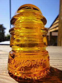 Beautiful Vintage Hemingray No.12 Amber Orange Glass Insulator Colored / Stained