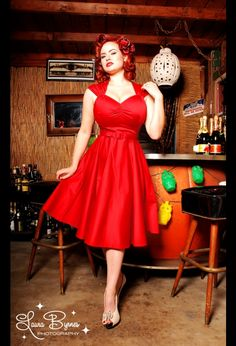red pin up dress