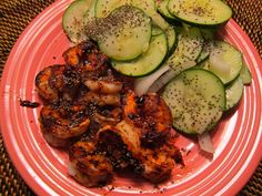 Hoisin Shrimp Cucumber Salad - recipe says to broil the shrimp but you could skewer them and grill, or even saute in the wok. I may try serving over soba noodles - yum! Quick and healthy dinner Wok Recipes, Asian Recipes, Healthy Recipes, Delicious Recipes, Tasty, Yummy Food, Light And Easy Meals, Clean Eating, Healthy Eating