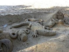 Sand sculptures. Uvongo beach South Africa