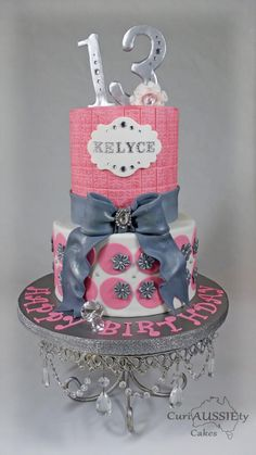 Pink and grey girlie cake - Cake by curiAUSSIEty custom cakes