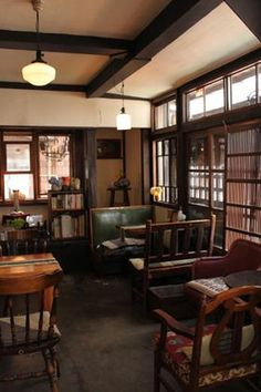 Home Decoration For Small House Interior Design Website, Home Interior Design, Interior Architecture, Japanese Style House, Traditional Japanese House, Retro Cafe, H Design, Café Bar, Japanese Interior