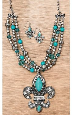 M Western Products Silver with Turquoise Fleur de Lis Necklace and Earrings Jewelry Set